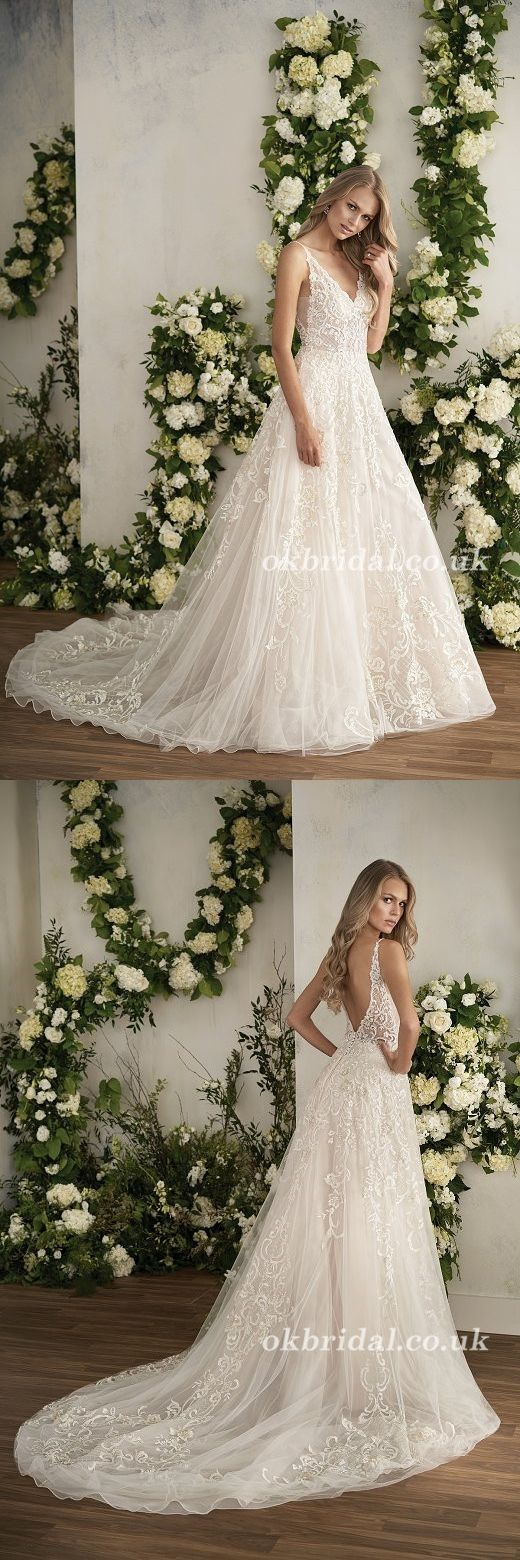 Lace Wedding Dress, V-Neck Wedding Dress, Tulle Bridal Dress, Sleeveless Wedding Dress, Floor Length Wedding Dress, Backless Wedding Dress, LB0952 #weddingdress #okbridal