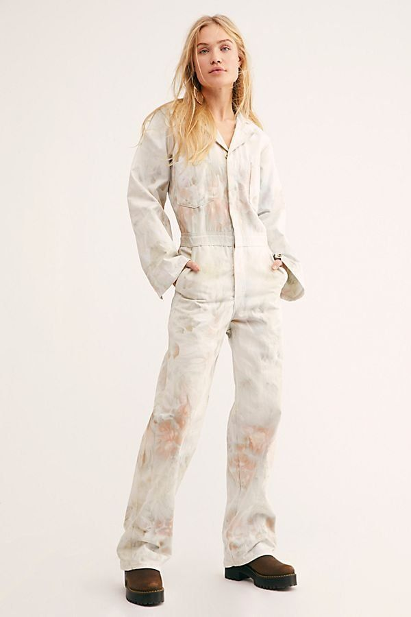 ce998a0cc422 Tie Dye Flight Suit - White Tie Dye Jumpsuit - White Cargo Jumpsuit - Hand  Dyed Jumpsuit