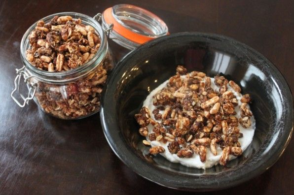 Crunchy Puffed Granola With Chocolate and Chia Seeds