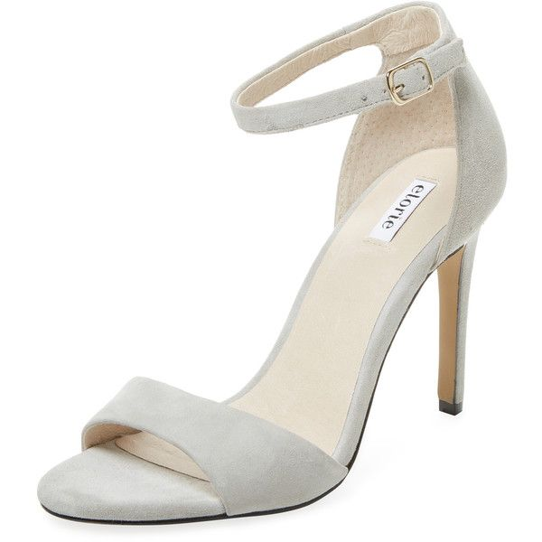 Elorie Women's High Heel Two-Piece Sandal - Light/Pastel Grey ($89) ❤ liked on Polyvore featuring shoes, sandals, ankle tie sandals, leather heeled sandals, grey leather sandals, leather shoes and wrap sandals