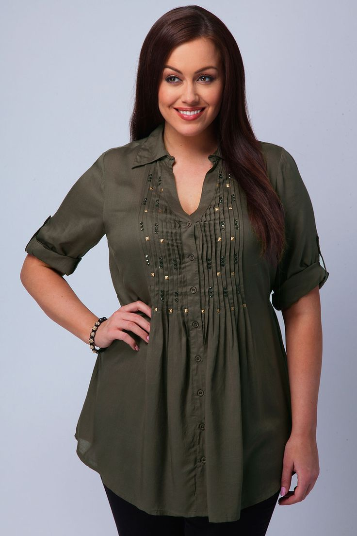 Plus Size Women's Clothing Shirts | Yours Clothing Womens Plus Size Khaki shirt with embellished detail ...