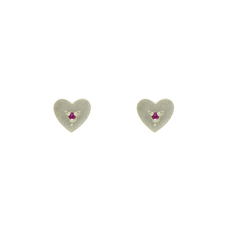 Heart Studs with Rubies
