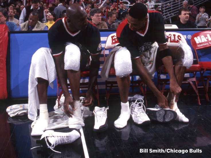 Jordan and Pippen, iced out and lacing up.