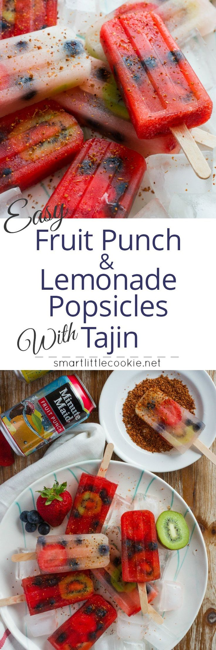 Easy Fruit Punch and Lemonade Popsicles with Tajin ~ Easy and refreshing fruit punch and lemonade popsicles filled with strawberries, blueberries and kiwi and sprinkled with Tajin for added flavor. #RefrescaTuSummer #ad