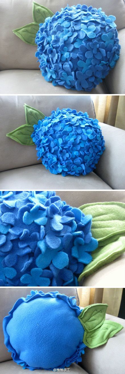 Hydrangea pillow - i have to make a gazillion of these IMMEDIATELY!!! AAAAAHHHHH!!!! Blue AND Purple! THIS IS SO GREAT!!! - Picmia