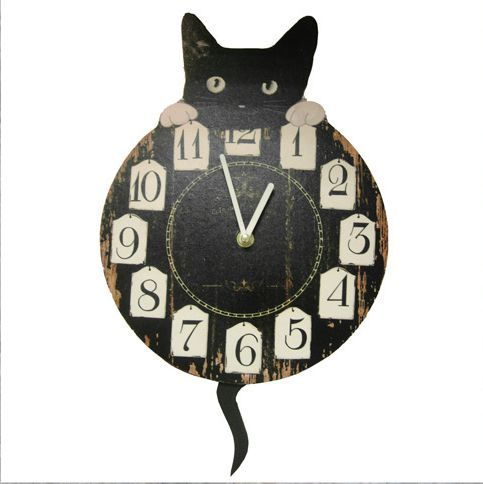 Gorgeous Cat Wall Clock With Pendulum Tail Design Kitchen Cats New U0026 Boxed