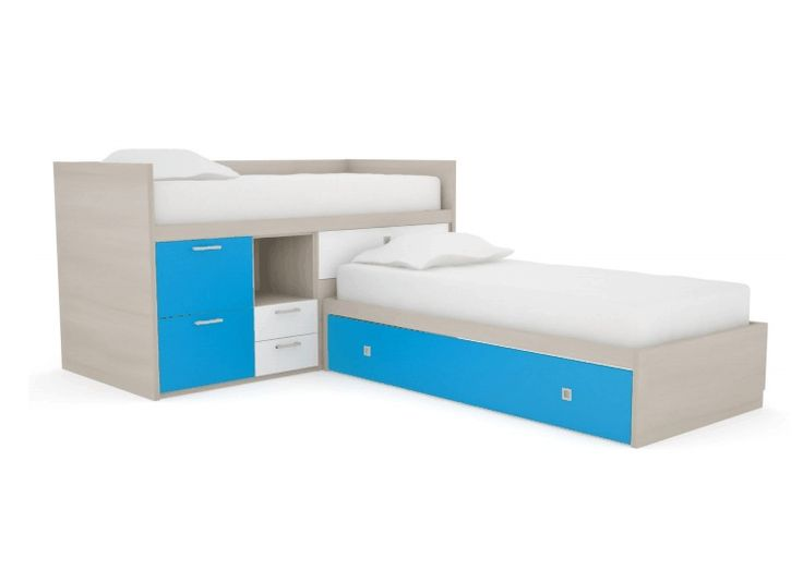 L-shaped Bed Corner Bed | shaped cabin bed with storage compartments & trundle guest bed.