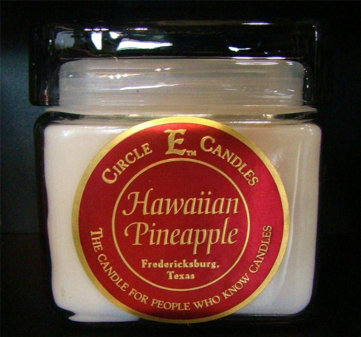 NEW CIRCLE E CANDLE HAWAIIAN PINEAPPLE 28 oz JAR 155 HR BURN TIME YELLOW FRUIT #CircleE