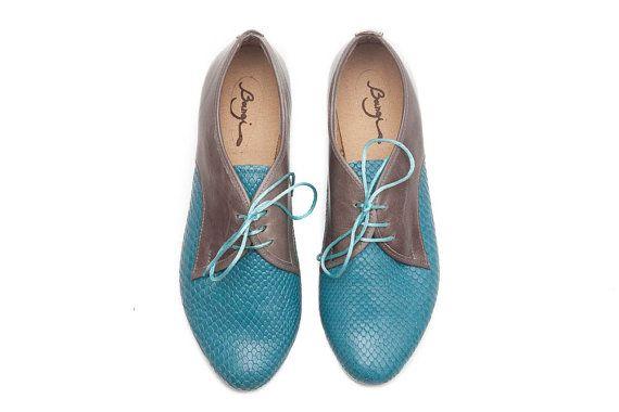 Turquoise Leather Shoes Turquoise Shoes Turquoise by BangiShop, $105.00