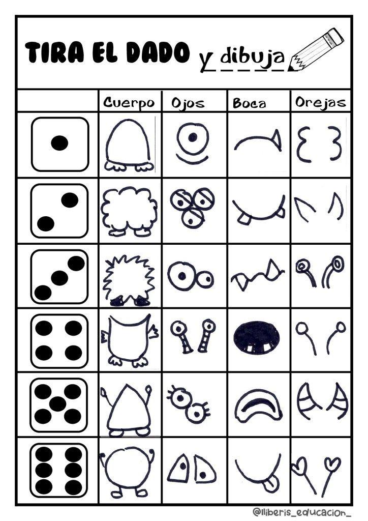 Tira El Dado Y Dibuja Tu Monstruo Nos Divertimos Un Rato Orientacion Andujar Monstruos Para Dibujar Juegos Con Dados Monstruos