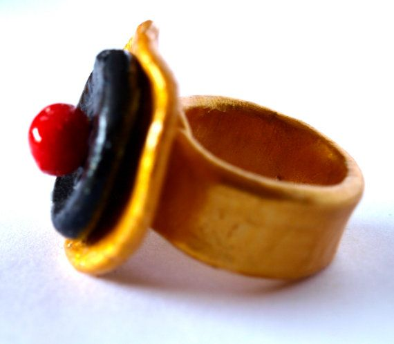 December 12  Gold Black and Red Ring from Polymer Clay by bibigo, €18.00