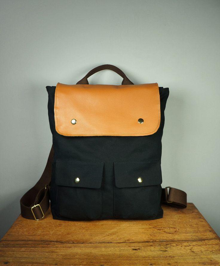 City Backpack in Black Canvas/ Backpack/ Women/ Laptop Bag/ Tan Leather/ Handmade in New York/ Messenger by HangaBag on Etsy https://www.etsy.com/listing/83864580/city-backpack-in-black-canvas-backpack