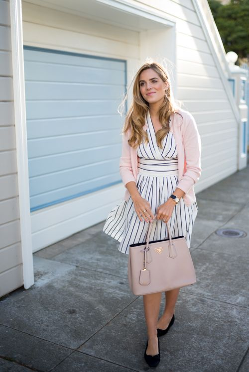 Black and white striped Chicwish dress, J.Crew sweater, and Prada bag