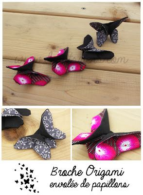 deptitsriens tuto : http://leslubiesdelouise.files.wordpress.com/2013/04/papillon-en-tissu-fac3a7on-origami-les-tutoriels-de-louise.pdf