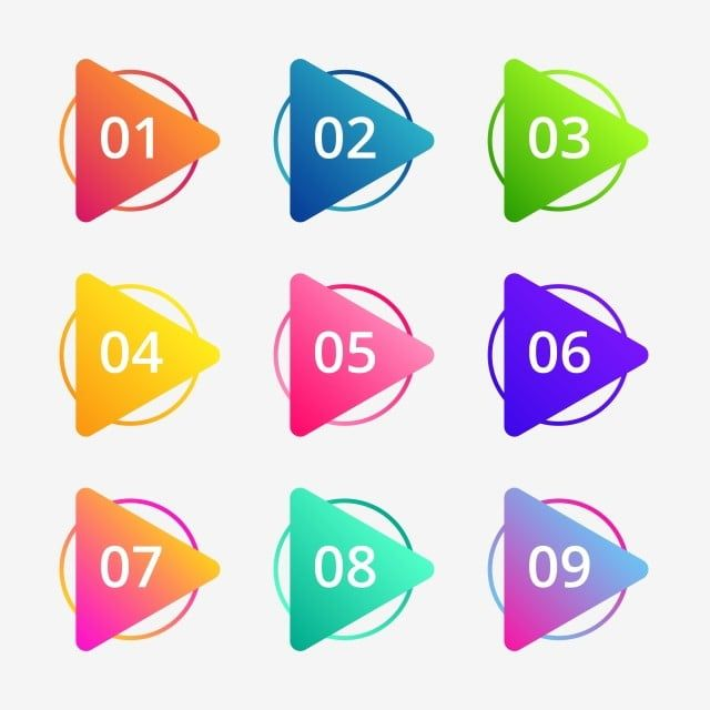 الملونة الإبداعية مع أرقام التوضيح رقم أعداد نقطة Png والمتجهات للتحميل مجانا Powerpoint Timeline Template Free Retro Vector Illustration