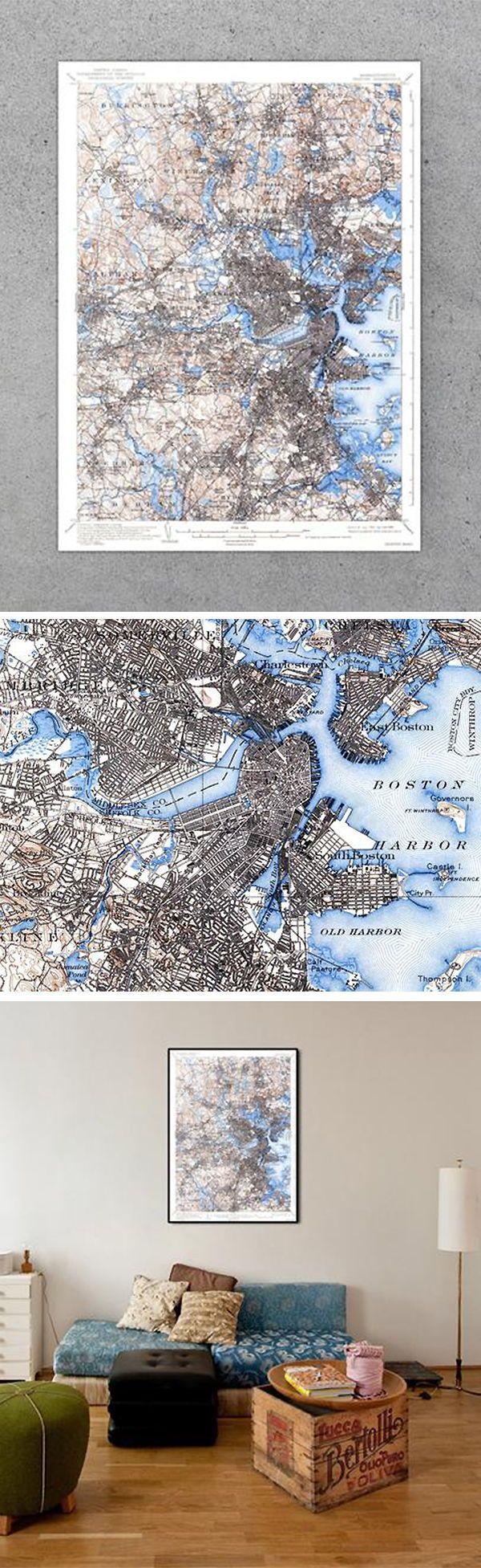 Boston MA 1939 USGS Map 25 best