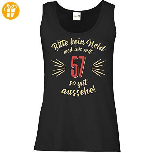 getshirts - RAHMENLOS® Geschenke - Tank Top Damen - Geburtstag 57 - Bitte kein Neid - beige - schwarz XXL (*Partner-Link)