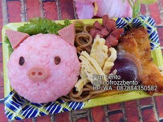 Pigy bento Catering bento ulang tahun anak berkarakter dengan nasi berwarna pink