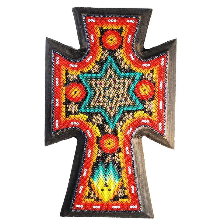 Red, Yellow & Turquoise Huichol Cross with Deer and Star Created with Microbeads $49