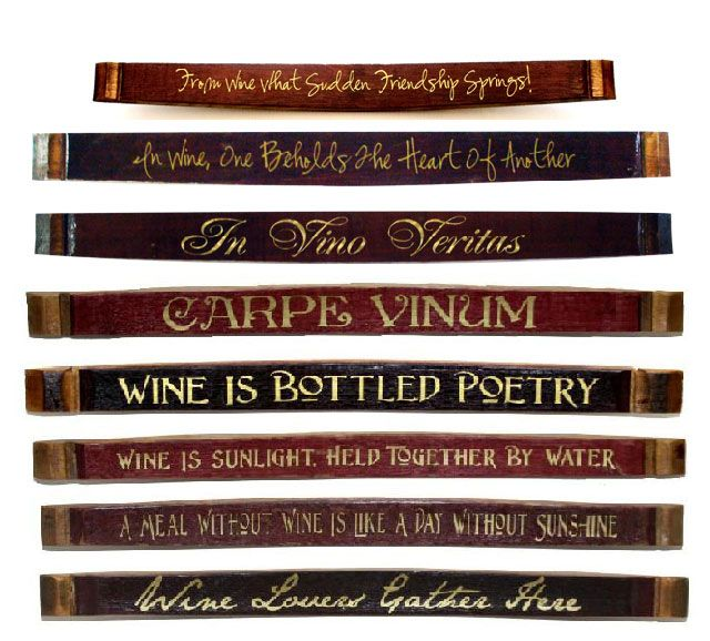 These Wine Barrel Stave Signs will accent your wine decor. Hang them wherever you enjoy wine and good times with friends. This wine barrel stave wine sign is the perfect green gift for wine lovers!