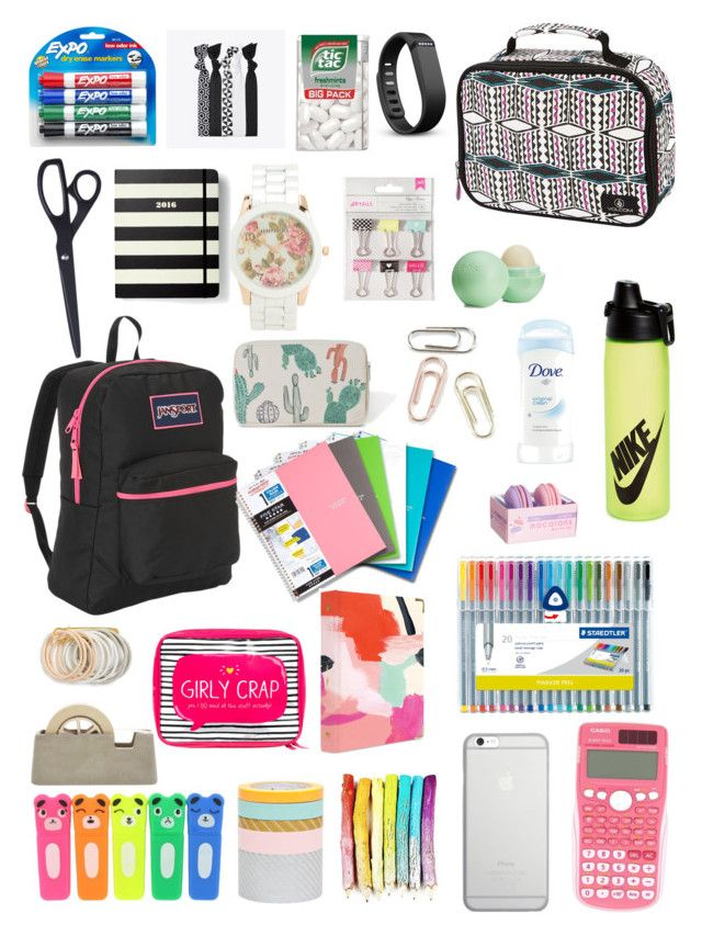 """""""School supplies"""" by sophiatenici on Polyvore featuring JanSport, Casio, Eos, russell+hazel, Imm Living, Volcom, NIKE, Odeme, Popband and Fitbit"""