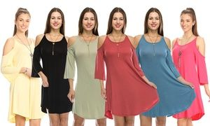 051e70273c1 Groupon - Nelly Women s Open-Shoulder Tunic Dress  Plus Sizes Available.  Groupon deal price   17.99
