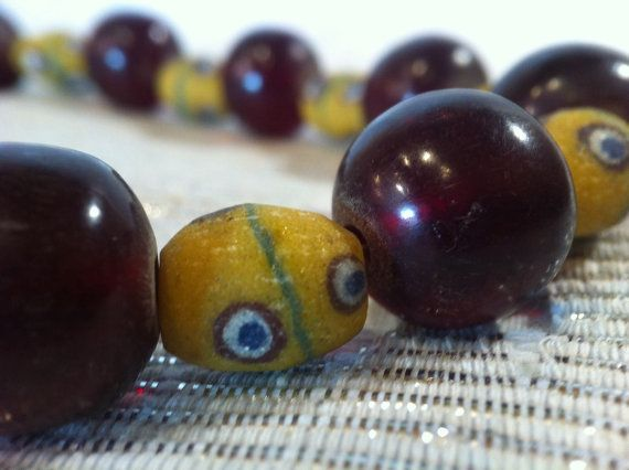 African Horn and Glass Necklace // Handmade Beads by monuandmonu