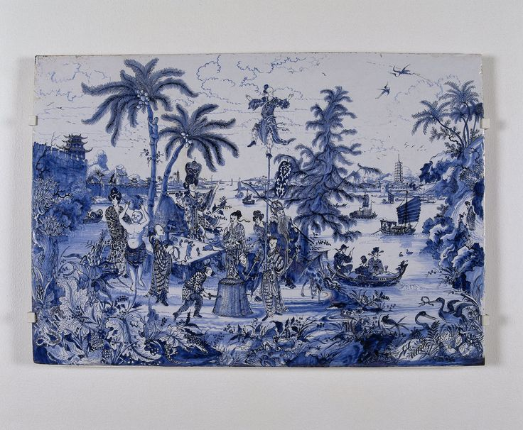 Joan Nieuhoff, Delftware plaque with chinoiserie-images, ca. 1670-1690