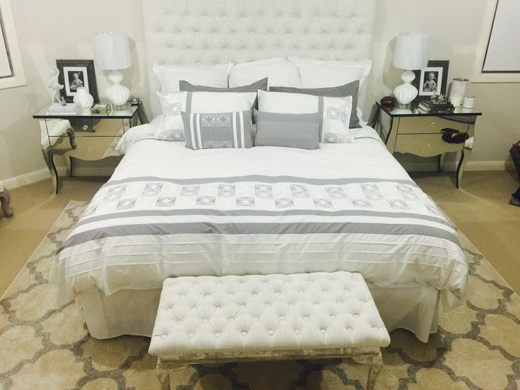 Bedroom make over. Hand made bedhead.