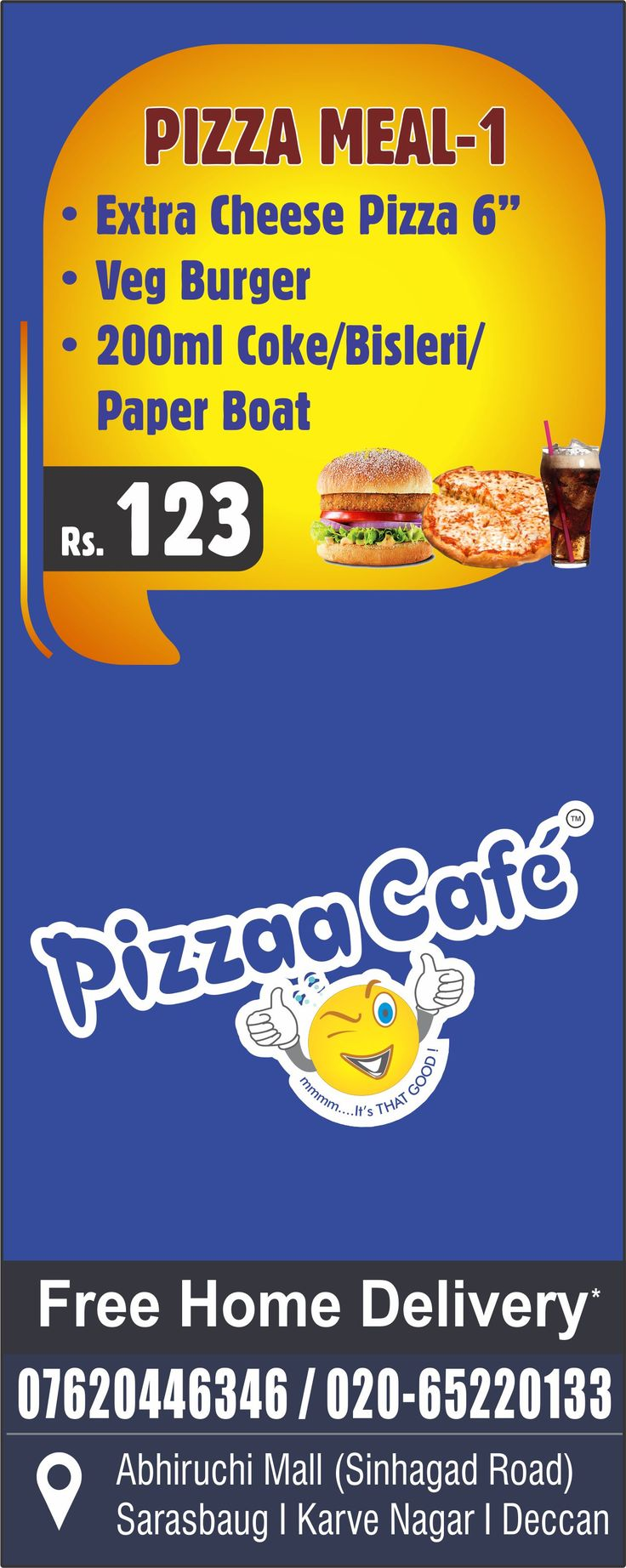 www.pizzaacafe.in Pizza Meal 1 #ExtraLargePizza #VegBurger #Coke #PaperBoat