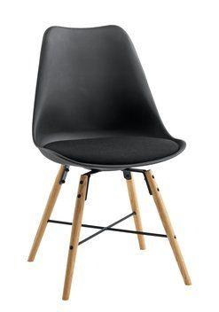 Krzesło KLARUP materiał czarne/dąb | JYSK