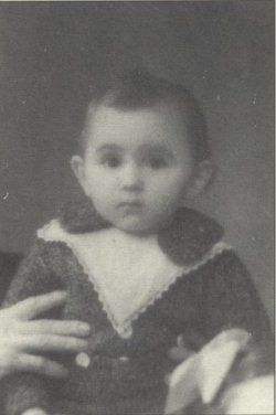 Pierre-Paul Erdstein was sadly murdered in Auschwitz on December 19, 1943 at age 2. He is being held by his mother *which only her hand is shown*. Photo could have been taken months before deportion or last year