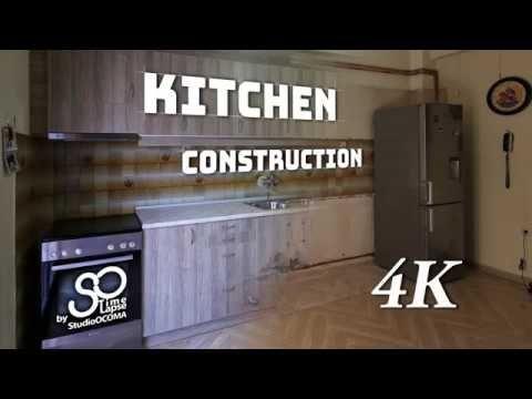4K Timelapse Construction of a Kitchen