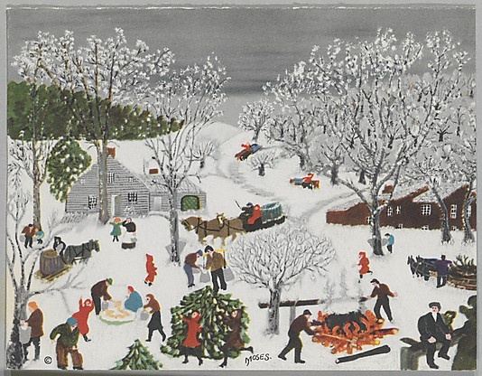 Nothing like some Grandma Moses to think about the nostalgia of winter. ( we visited the Moses Museum and purchased a print like this...I hang it each Christmas....: