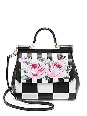 9dbcb2817255e Dolce & Gabbana Checker & Rose Print Shoulder Bag   bizarre bags in ...
