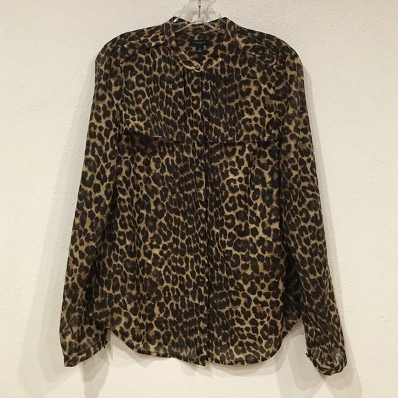 ‼️Lowest‼️ Ann Taylor leopard blouse Excellent condition. Sleeves can be rolled up. No trades, Ann Taylor Tops Blouses
