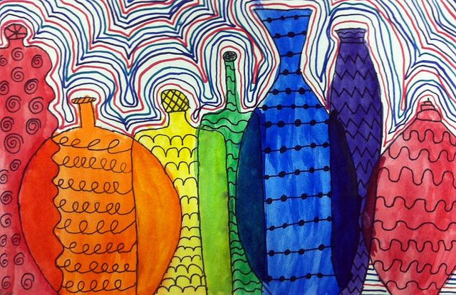 overlapping bottles, color mixing, and pattern