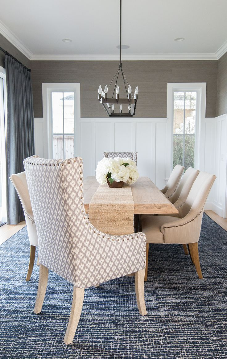 Project Newport Harbor PART TWO! - Blackband Design  Grasscloth wallpaper and wainscoting in this formal dining room!