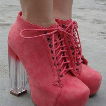 Clear Heel Shoe Boots - Coral Pink Suede from Fashion Thirsty