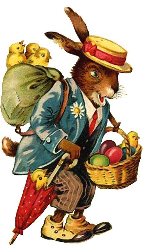 vintage postcard rabbit, chicks, eggs image