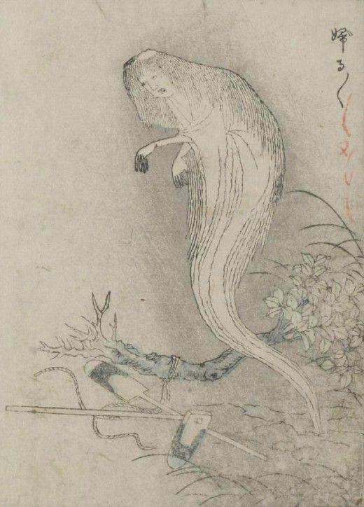"""""""The Kaibutsu Ehon (""""Illustrated Book of Monsters"""") features woodblock prints of yōkai, or creatures from Japanese folklore. Illustrated by painter Nabeta Gyokuei, the book is modeled after the influential works of Toriyama Sekien, an 18th-century scholar and ukiyo-e artist known for his attempt to catalog the many species of yōkai in Japan."""""""