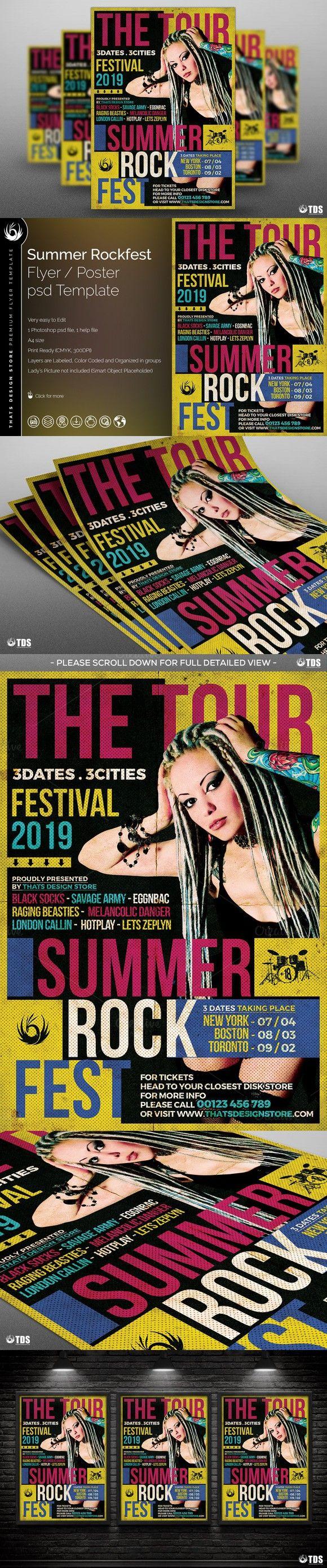 Summer Rockfest Flyer Template. Poster Templates. $9.00