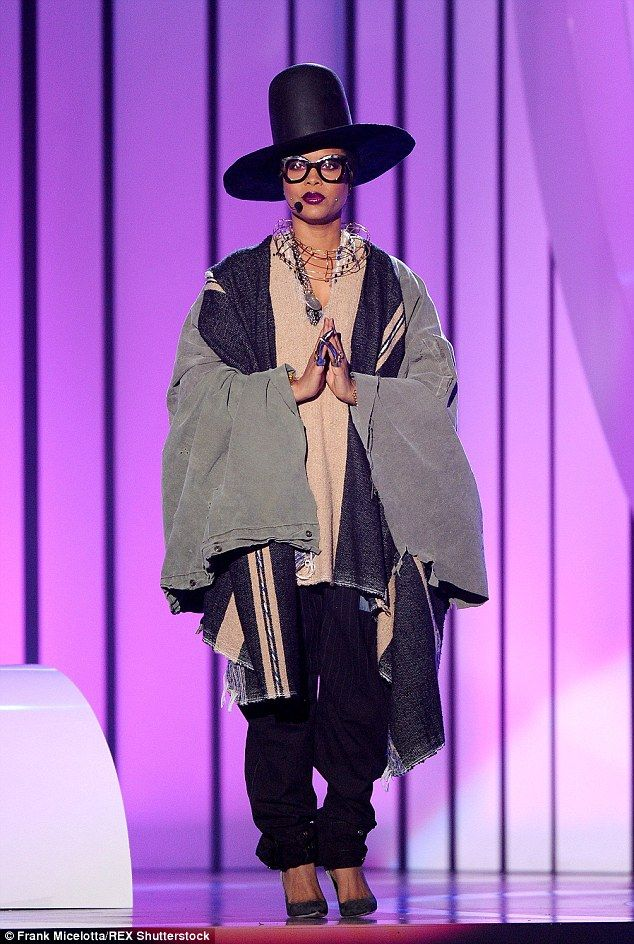 Slammed: Singer Erykah Badu took aim at Iggy Azalea when she hosted the BET Soul Train Awards on Sunday evening