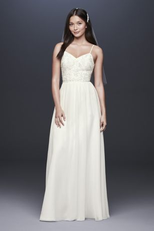 adeb2c1aa6fbb ... this soft chiffon sheath gown features a floral beaded ballerina  bodice, complete with delicate spaghetti straps. DB Studio, exclusively at  David's ...