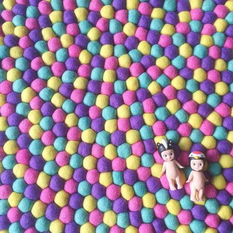 Winston and Grace Felt Ball Rug - Bubblegum
