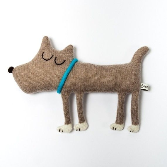 Knitted plush doggy. Not sure how good he'd feel to hold but cute to look at.
