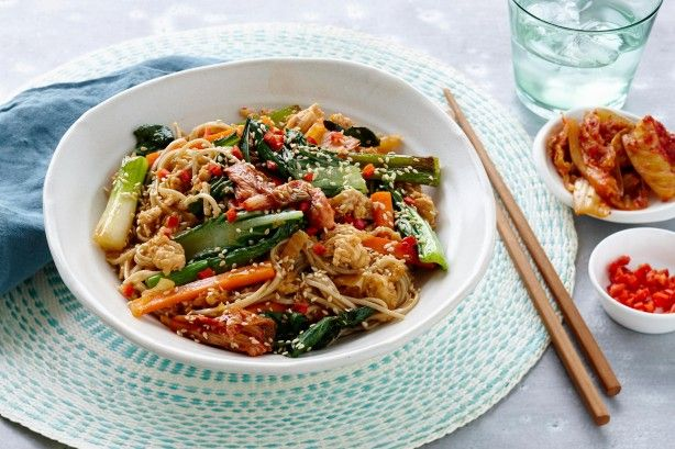 Kimchi is a fermented Korean side dish often made from cabbage. It is spicy and sour and the base flavour to this quick and easy stir-fry.