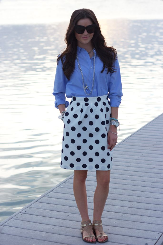 By the bay: Work Clothing, Fashion, Style, Polka Dots Skirts, Cute Outfit, Polka Dots Parties, White Skirts, Chambray, Pink Peonies