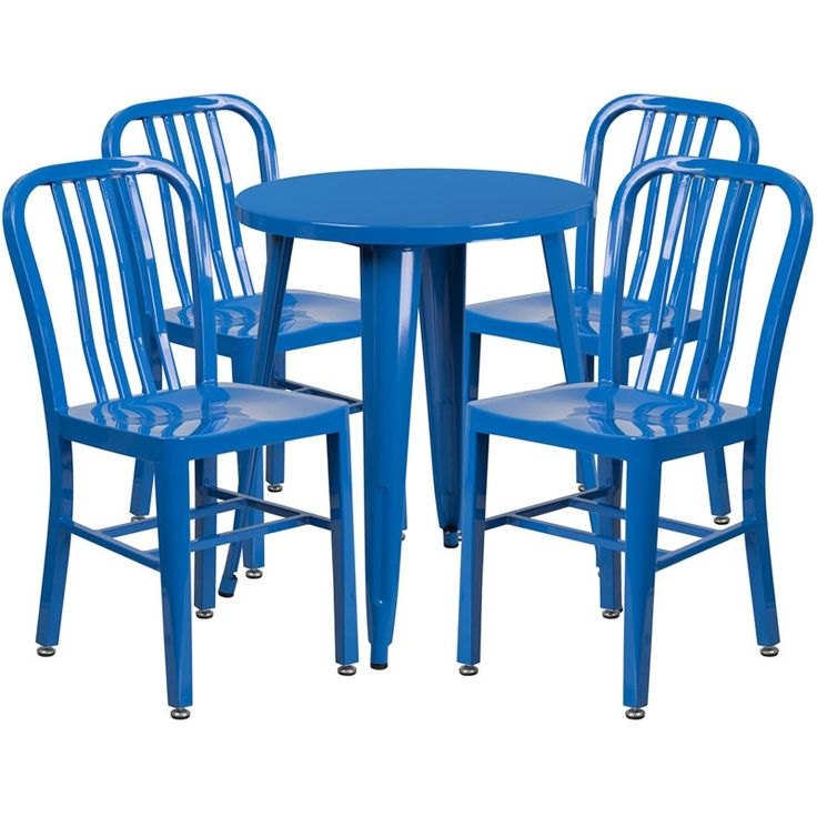 Rochelle Round 24'' Blue Metal Indoor-Outdoor Table Set w/4 Vertical Slat Back Chairs for Restaurant/Bar/Pub/Patio, Size 5-Piece Sets, Patio Furniture (Iron)