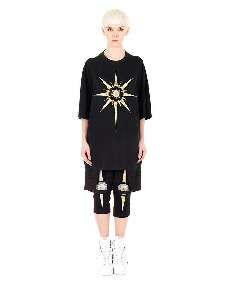 YOHANIX Black oversized T-shirt  crew-neck short sleeves front metal decorations 62% PL 33% RY 5% SE
